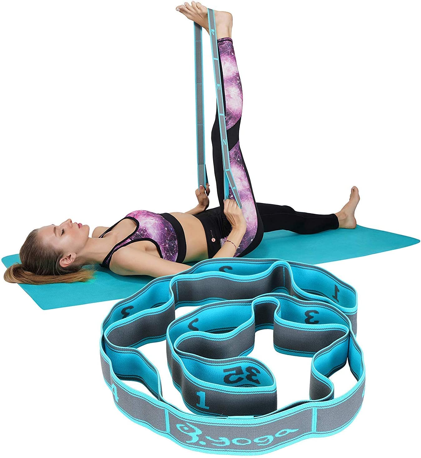 8-Loop Elastic Yoga Pull Strap Stretching Band Fitness Resistance Bands