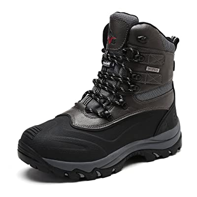 NORTIV 8 Men's Insulated Waterproof Construction Rubber Sole Winter Snow Skii Boots | Snow Boots