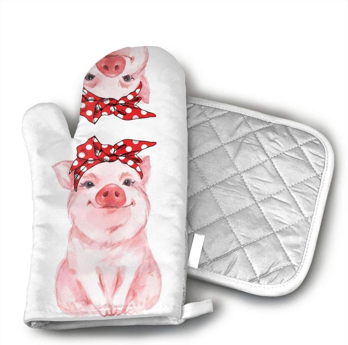 Pink Farm Funny Pig Cute Watercolor Baby Painting Piglet Kawaii Oven Mitts and Potholders (2-Piece Sets) - Kitchen Set with Cotton Heat Resistant,Oven Gloves for BBQ Cooking Baking Grilling