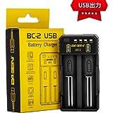 18650 充電器 急速電池充電器 USB出力機能付き (2充電スロット)
