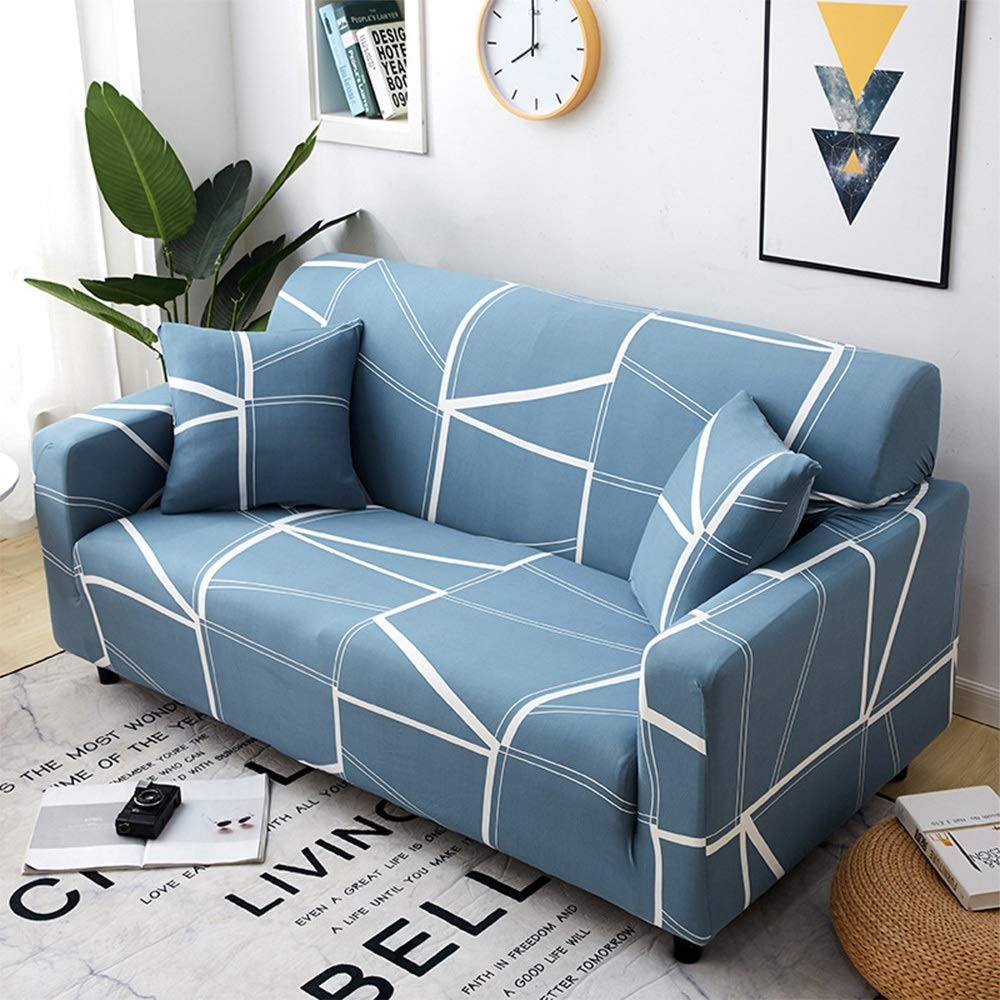 Jaxonn Home Sofa Cover, Geometric Elastic Sofa Cover, Lattice Couch Seat Cover, Stretch All-Inclusive Non-Slip Sofa Towel for 1 2 3 4 People Sofa + 1 Pillowcase (Color : E, Size : 1 Seater) by Jaxonn Home