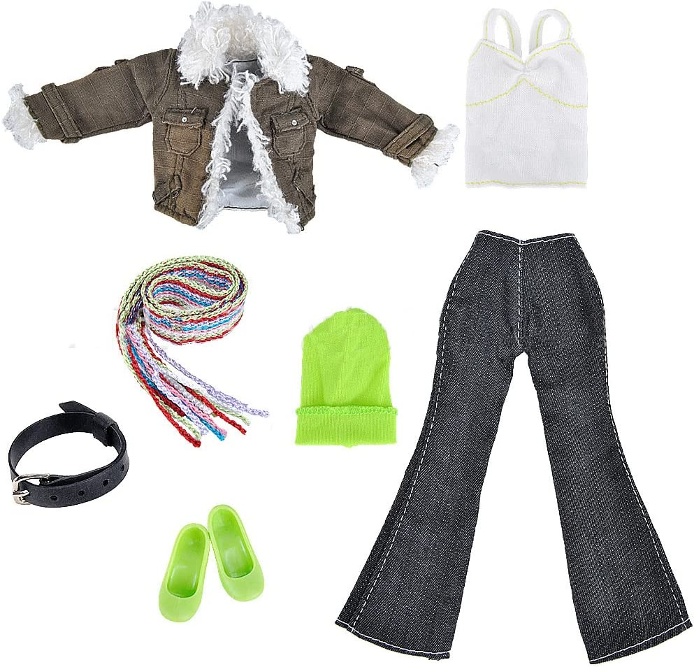 Lance Home 5 Set of Denim Clothes /& Accessories for 11.5 inch Girl Doll Fashion Outfit Coat Jeans Vest Bag and Shoes Best Premium /& Reward Gift for Girls