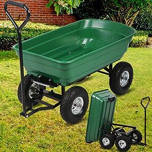 Garden Cart Heavy Duty Utility Lawn Yard Dump Cart Wagon Carrier with Sturdy Steel Frame & 10