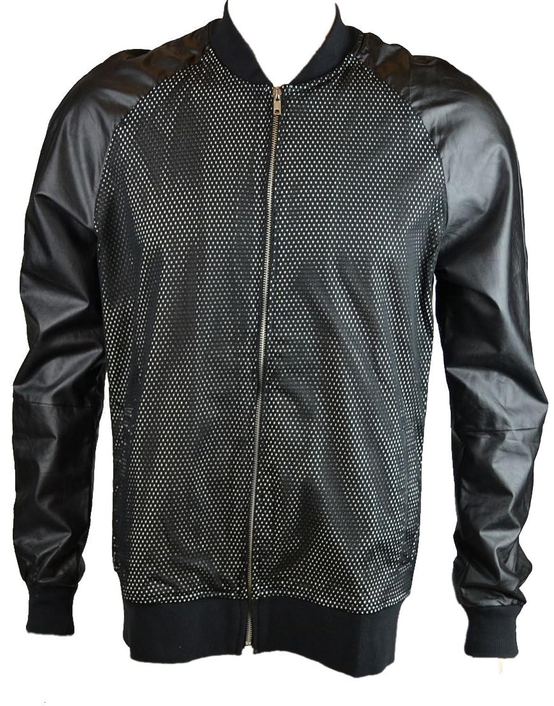 Sons of Heroes DAMAGED GOODS Men's AERTEX Leather Sleeved Bomber Jacket Black (SHDGJK001)