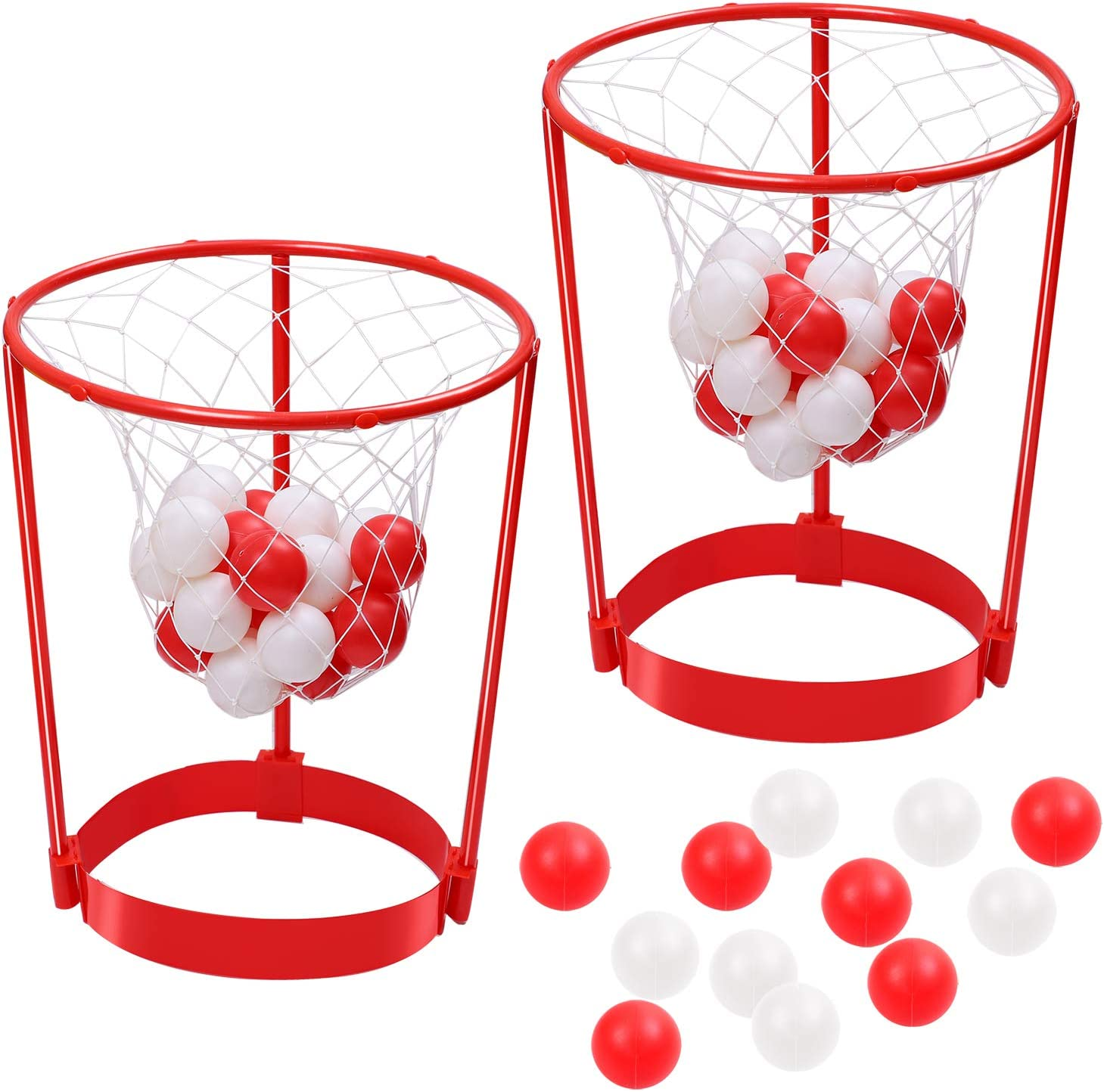 Aneco 2 Set Christmas Head Hoop Basketball Game for Christmas Party Game Gifts Basket Headband Ball Adjustable Basket Net Headband with 20 Balls