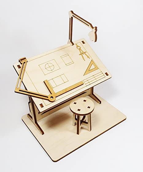 StonKraft Wooden 3D Puzzle Miniature Drafting Table - Home Decor, Construction Toy, Modelling Kit, School Project - Easy to Assemble