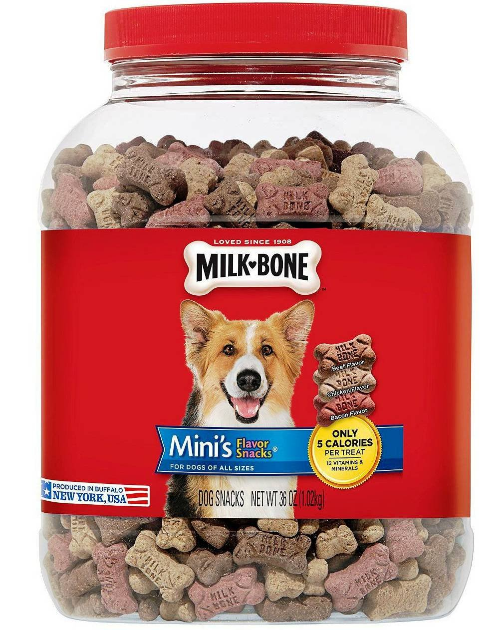 Milk-Bone Mini s Biscuits Flavor Snacks Canister 36 oz. 2 Canisters