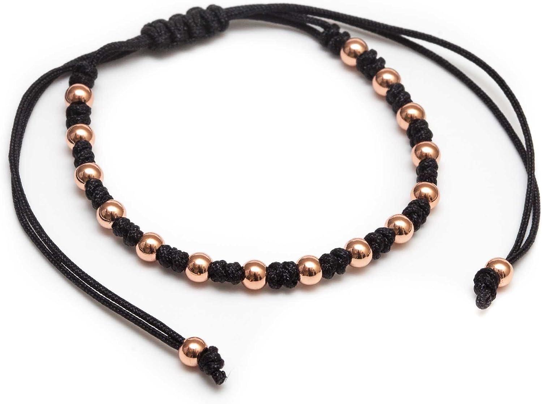ZENGER Jewelry Andrew Macrame Bracelet - 4mm 18kt Rose Plated Steel Beads, Adjustable, Black String