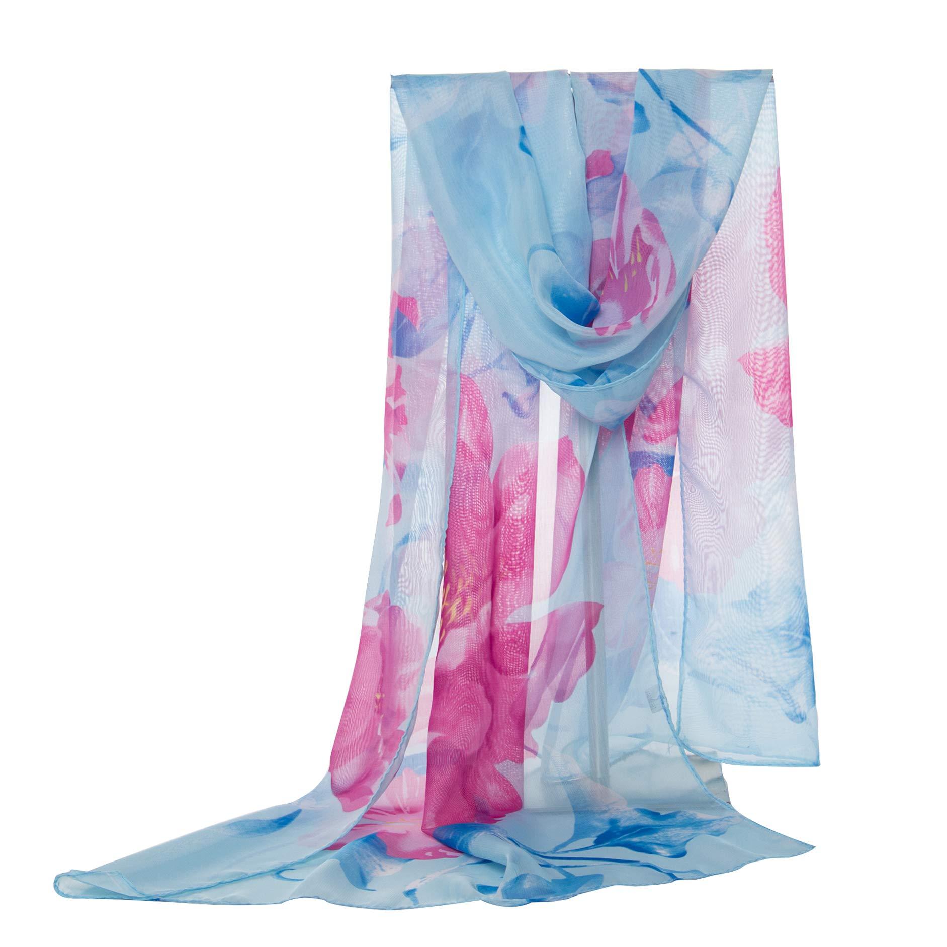 E-Clover Women Soft Floral Print Shawl Chiffon Sheer Scarf (LightBlue)