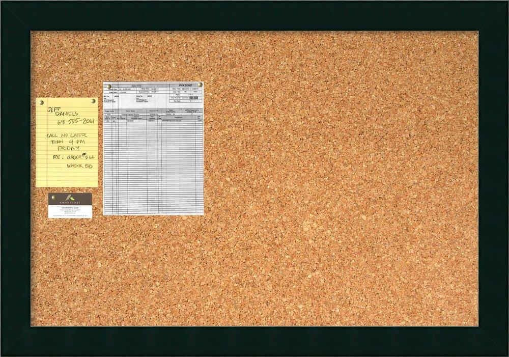 Framed Cork Board Large, Tribeca Black Wood: Outer Size 40 x 28''