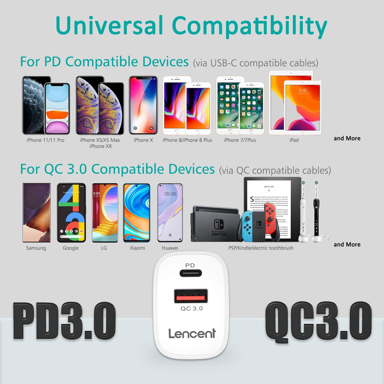 Huawei P20//P30 iPad Pro 18W Quick Charge 3.0 Chargeur Secteur Mural USB 2 Ports pour iPhone Se 2020 iPhone 11//11 Pro// 11 Pro Max//XR//XS//X Pixel 3//2 LENCENT PD Chargeur Prise USB C Galaxy S10 // S9