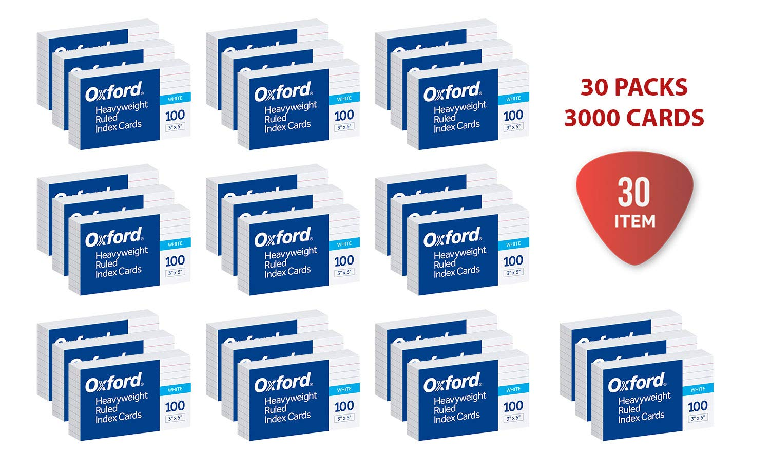 Oxford Heavyweight Ruled Index Cards, 3'' x 5'', White, 100 Per Pack (63500), 30 Packs of 100 cards by Oxford