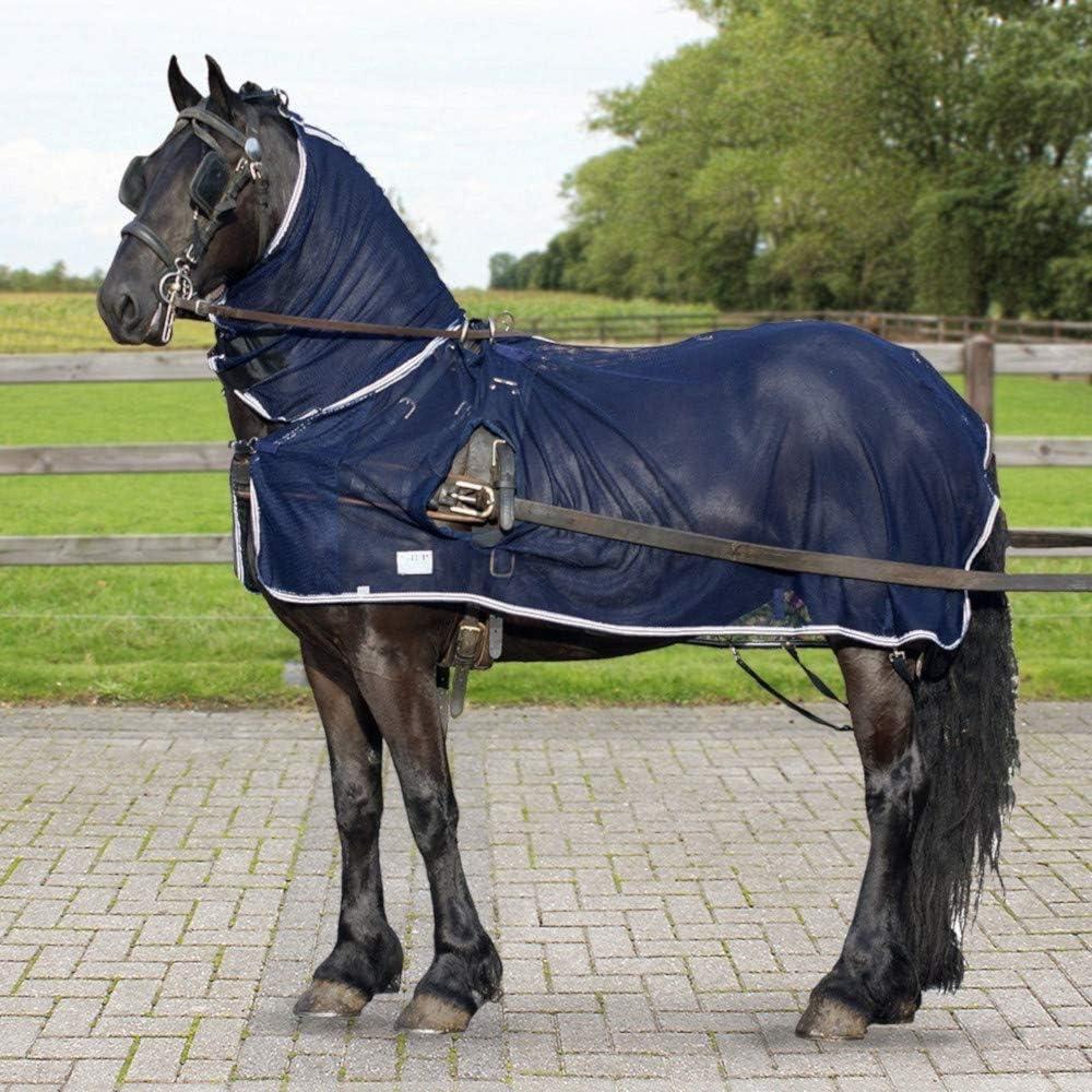 QHP especialmente–Manta antimoscas para caballos con cuello extraíble y Aperturas de conducción para el conducción Vajilla