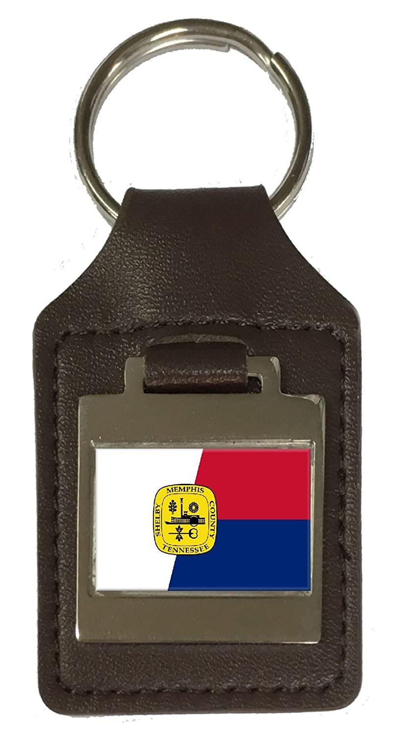 Leather Keyring Engraved Memphis City Usa Flag