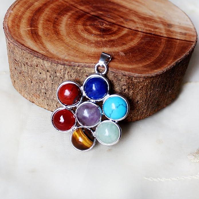 Contever 7 Chakras Piedra Colgante Aleación Piedras preciosas ...