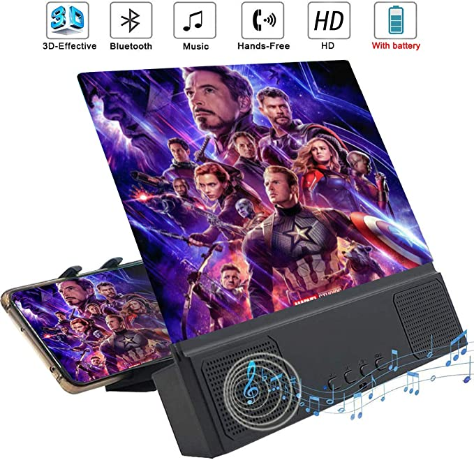 12 Phone Screen Magnifier 3D HD Movies Amplifier Projector Cell Phone Screen Enlarger with Foldable Stand for iPhone 11 Pro Samsung Galaxy S9 and Other Smartphones Blue