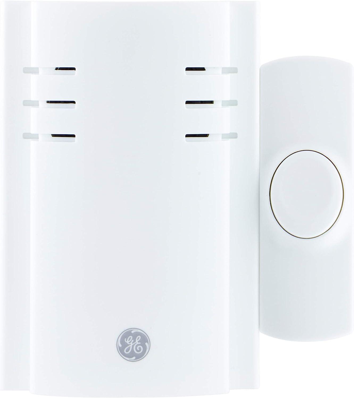 GE Wireless Doorbell Kit, 8 Melodies, 1 Push Button, 4 Volume Levels, 150 Ft. Range, White, 19299, Plug-In Receiver