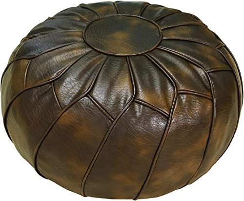 Thgonwid Unstuffed Pouf Cover – Round Foot Stool Ottoman – Storage Bean Bag Floor Chair – Luxury Leather Pouffe – Small Foot Rest for Living Room, Kids Room and Wedding Cinerous