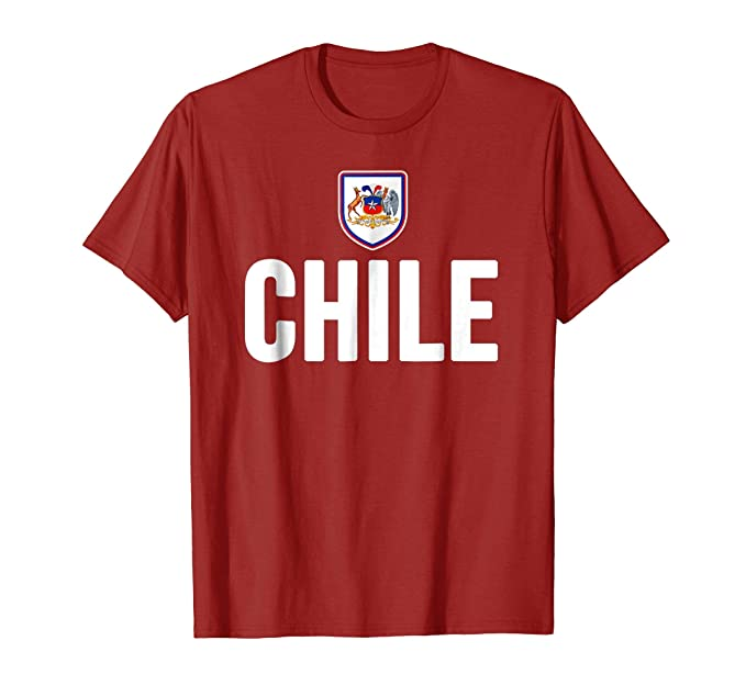 Mens Chile T-shirt Chilean Flag Soccer Futbol Fan Jersey 2XL Cranberry