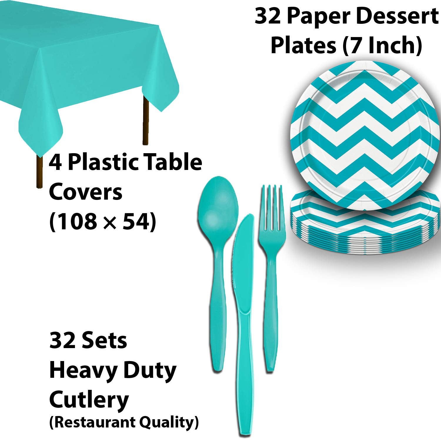 Disposable Tableware, 32 Sets - Silver and Caribbean Teal - Scallop Dinner Plates, Chevron Dessert Plates, Cups, Lunch Napkins, Cutlery, and Tablecloths: Premium Quality Party Supplies Set by HeroFiber (Image #4)