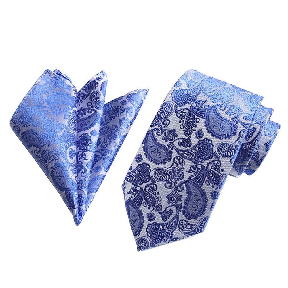 L04BABY Mens Blue Paisley Jacquard Woven Formal Suit Necktie+Pocket Square