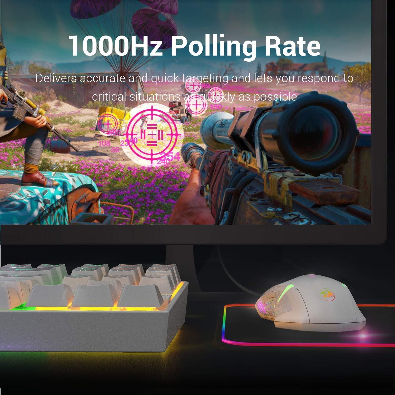 Redragon M601 RGB Ratón para juegos retroiluminado con cable ergonómico 7 botones Ratón programable Centrophorus con grabación de macros y ajuste de peso 7200 DPI para PC con Windows (blanco)