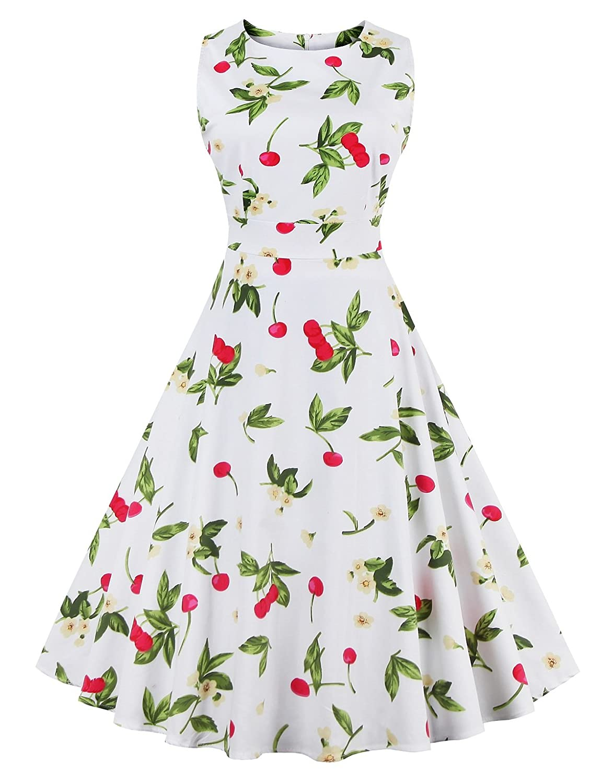 Cherry White VOGVOG Women's Retro Swing Dresses Vintage Sleeveless Dresses for Party