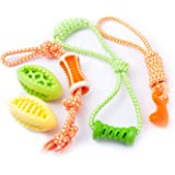 Fluffy Paws 5 Packs Dog Toys, Pet Puppy Teething Chew Set, Durable Non-Toxic Rubber Tug Ropes & Treat Balls, Dental Chew Bite Interactive Training/Chewing/Playing Toy for Small and Medium Dog Puppy