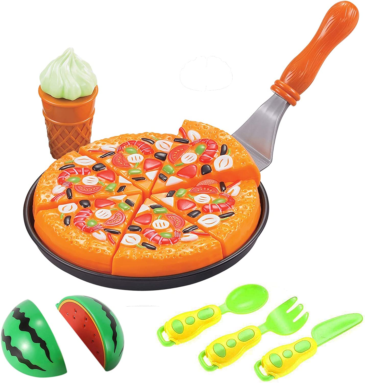 Liberty Imports Pretend Play Cooking Cutting Foods Set - Kitchen Fun Cuttable Food Toys - Early Development Educational Gift for 2, 3, 4, 5, 6 Year Old Kids, Boys, Girls (Pizza Party)
