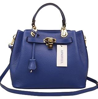 f93f3598bac0 Ainifeel Women s Padlock Handbags Bucket Shoulder Handbags Purse Crossbody  Bag