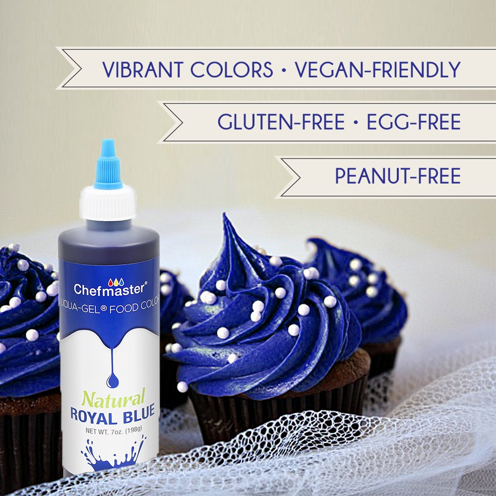 Chefmaster Natural Food Coloring for Baking, Airbrush Cake Color, Royal Blue Liquid Gel Food Coloring, 7 oz. All Natural Food Dye for Whipped Icing & Fondant, Gluten-Free Natural Food Color by Chefmaster (Image #3)
