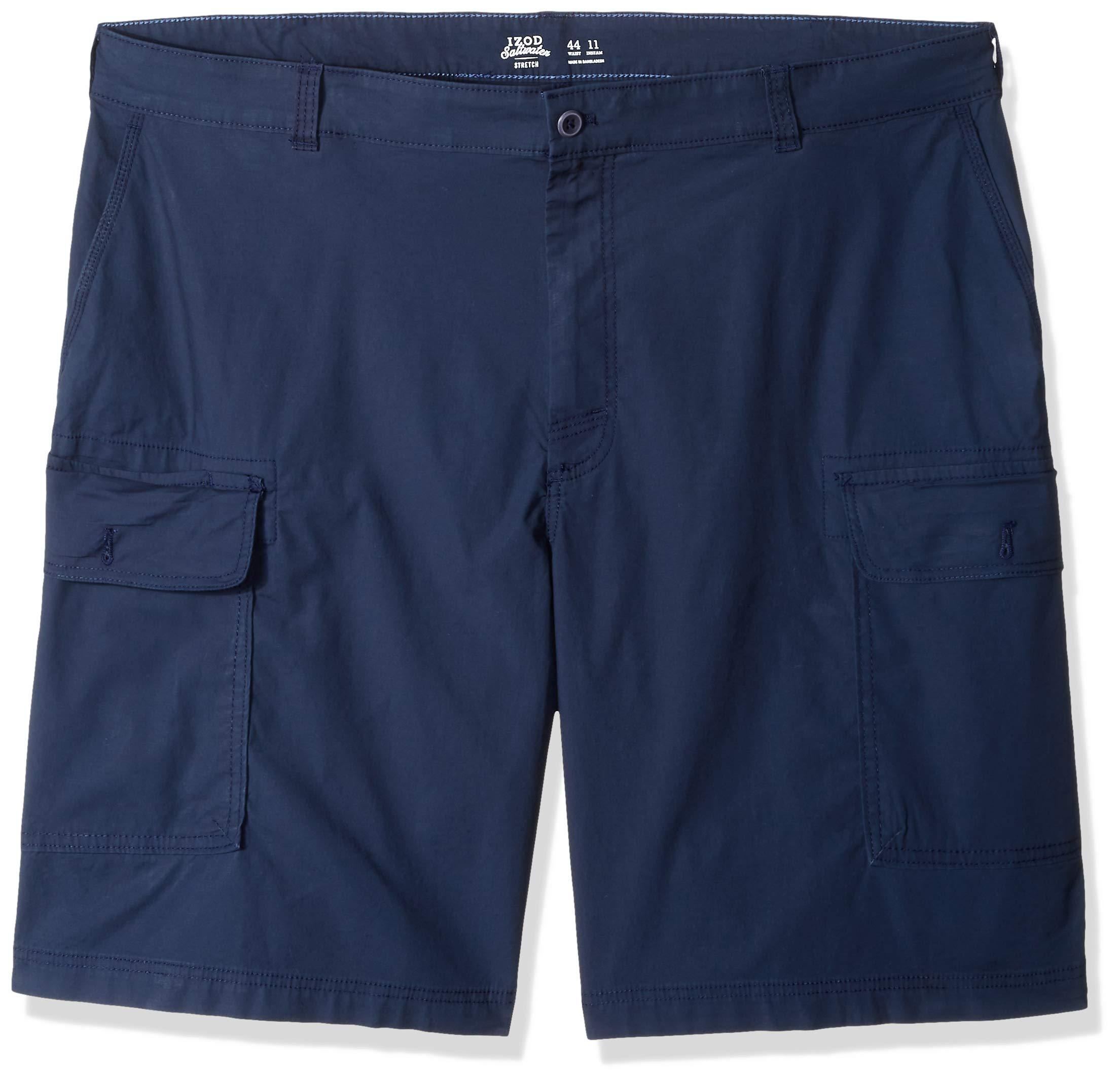 IZOD Men's Big and Tall Saltwater 10.5'' Cargo Short, Navy Blazer, 50