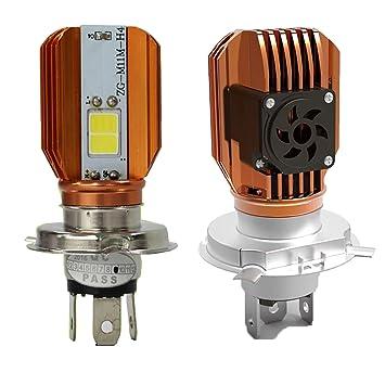 LED faro bombilla H4 para Motocicleta Moto Faro con ventilador de refrigeración COB 20 W Moto bombillas HI/LO Beam bombilla para Honda Yamaha Suzuki ...