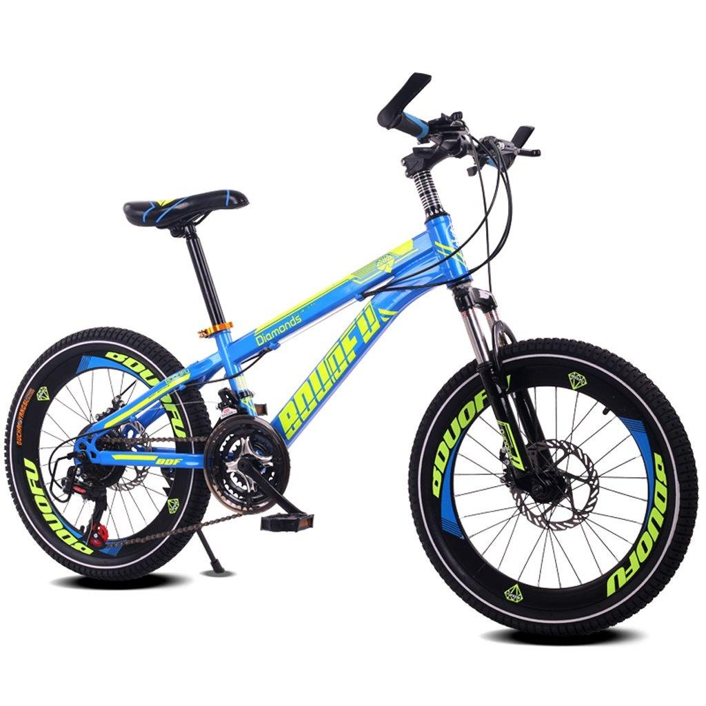 子供の自転車7-10-14歳の男の子のマウンテンバイク18/20インチのシフトの赤ちゃんキャリッジハイカーボンスチールバイク、青/黄/赤/オレンジ (Color : 18 inch blue) B07D1JXQ7M