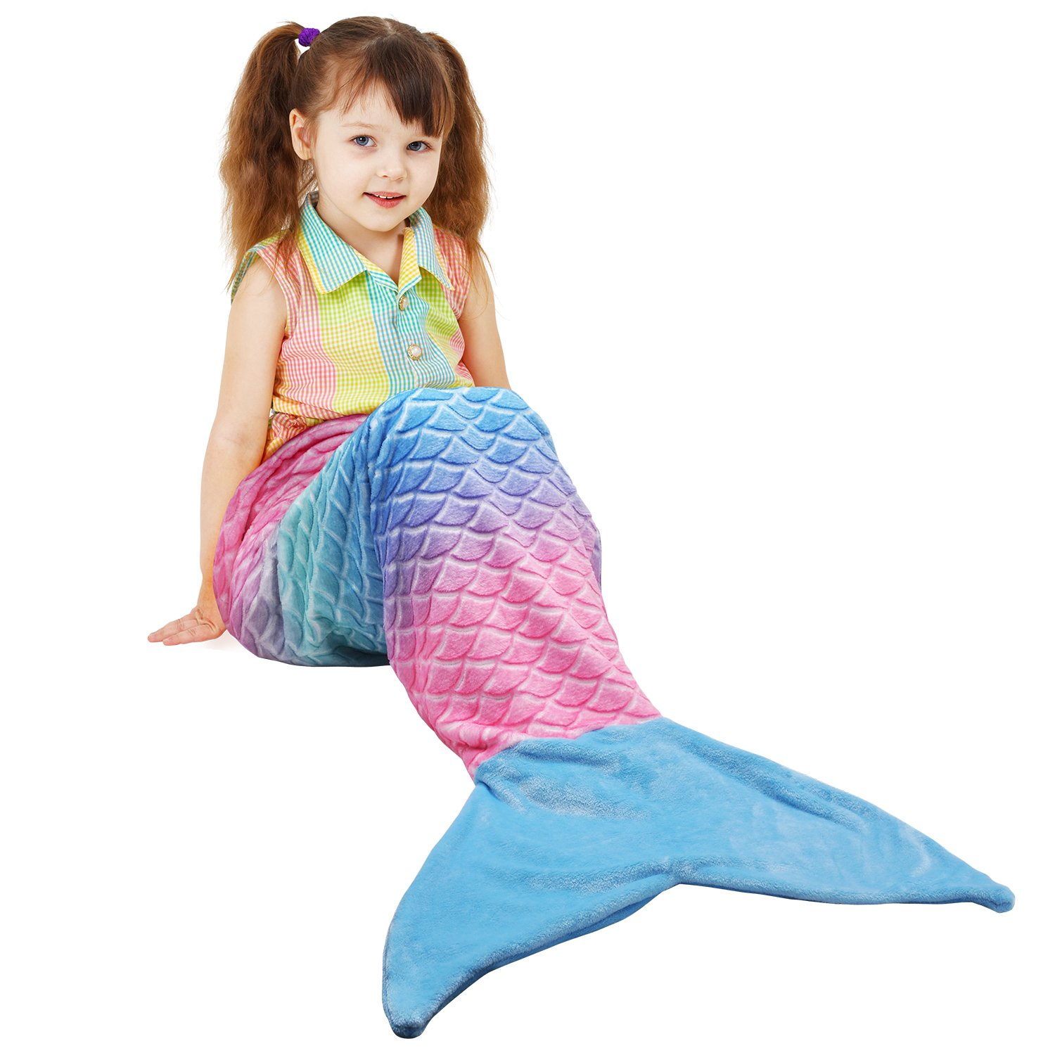 Catalonia Mermaid Tail Plush Flannel Blanket for Teen Child Kids, Soft Warm Fuzzy Micro Fleece All Seasons Sleeping Blanket Classic Scale Pattern 61'' x 19'' Rainbow Ombre
