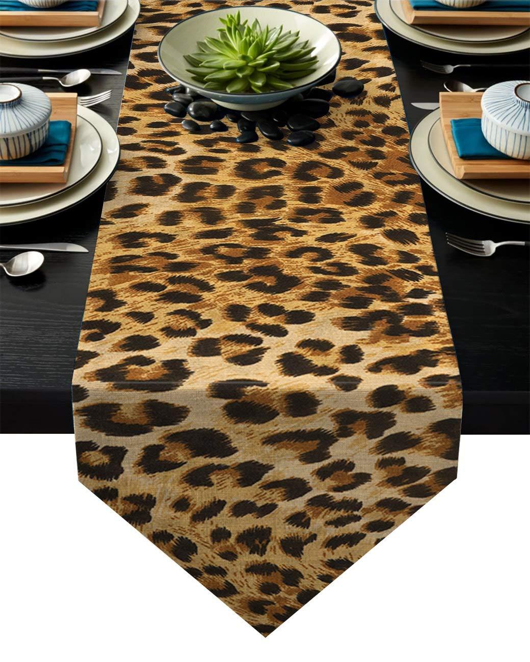 XYZDZ Hermosa Piel de Leopardo Manteles tablerunner Decoraci/ón de Fiesta del Partido de la Vendimia de la Boda Vector Runner peque/ño Picnic Dining-PC 1 Casa Color : A, Size : 33x178cm