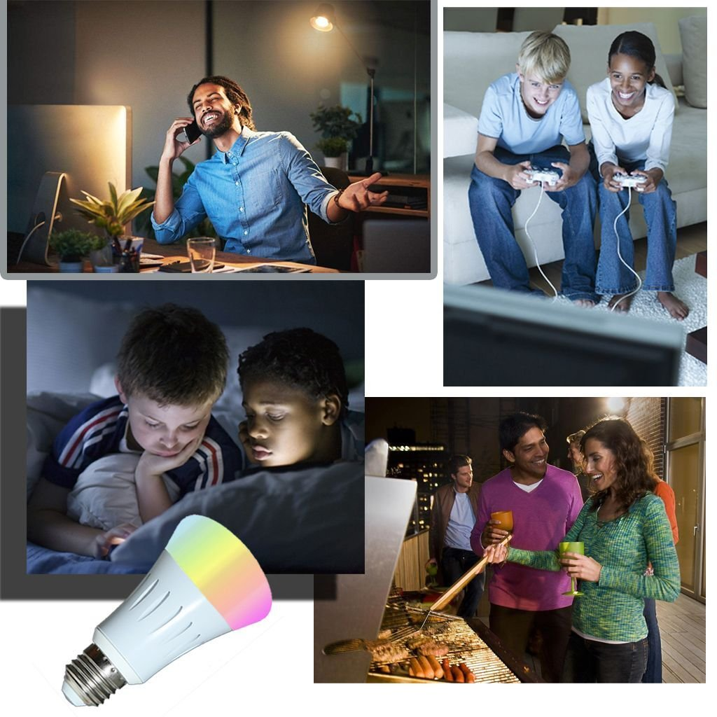 Smart Light Bulb,Works with Alexa,Dimmable Multicolored Color Changing Lights,Smartphone Free APP Control,7W New Version (White) by Foeska (Image #4)