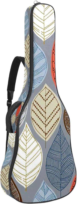 Bolsa para guitarra, impermeable, tela Oxford, 2 bolsillos para 40 41 42 pulgadas guitarra clásica acústica, hojas extrañas