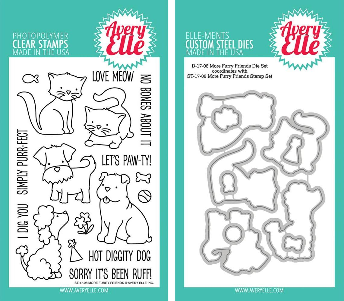 Avery Elle - More Furry Friends Clear Stamps and Dies Set - 2 item bundle