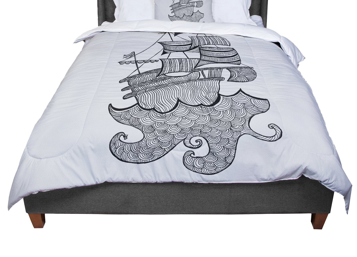 KESS InHouse Belinda Gilles Ships Ahoy Gray Nautical Twin Comforter 68 X 88