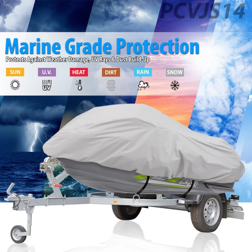Pyle PCVJS14 Waterproof Heavy Duty Jetski Cover Marine Grade Protection 139/'/' 145/'/' Inch Mildew Resistant Watercraft Storage Cover with Adjustable Strap /& Elastic Cord for Tight Custom Fit