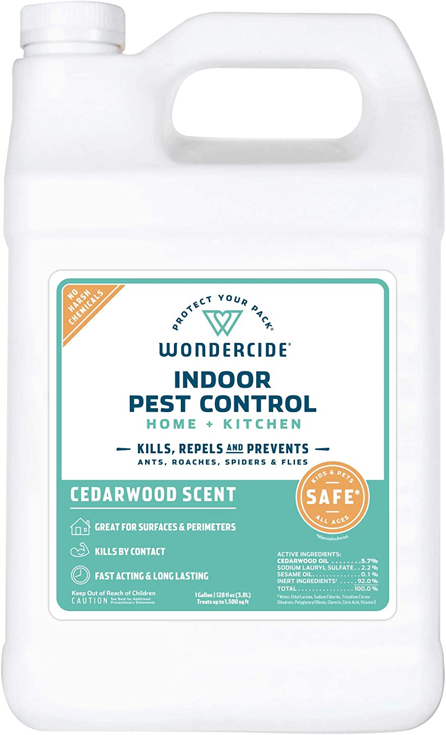 Wondercide Natural Products - Indoor Pest Control Spray for Home and Kitchen - Fly, Ant, Spider, Roach, Flea, Bug Killer and Insect Repellent - Eco-Friendly, Pet and Family Safe — 128 oz Cedarwood