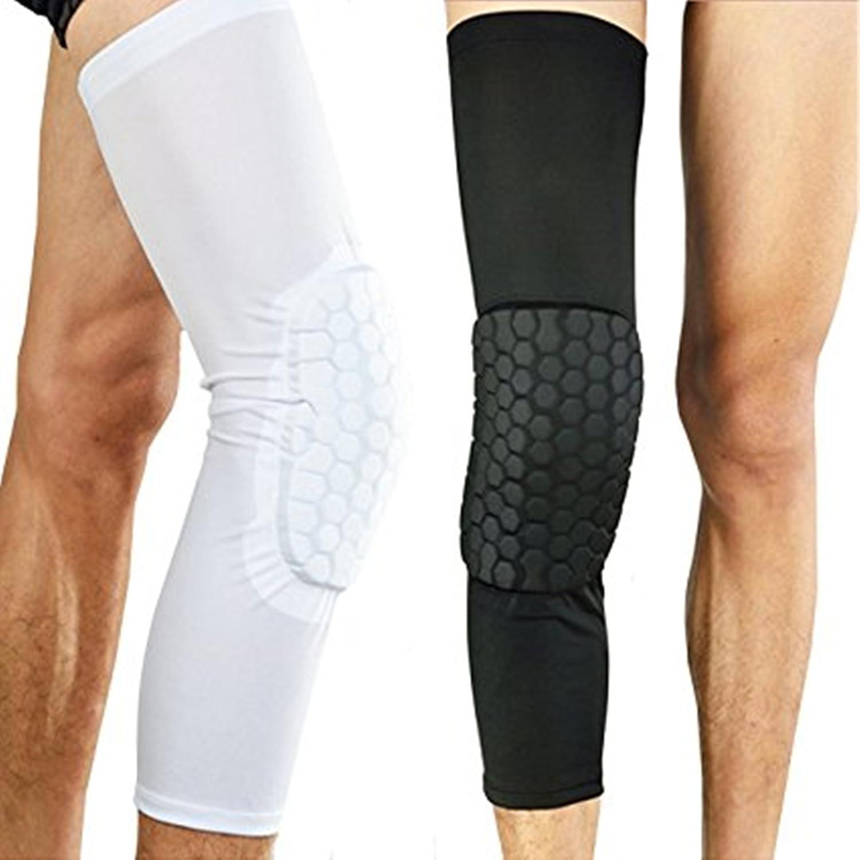 WENHAOYU Rodilleras de fútbol - - Protector de pierna deportiva para rodillas, de manga larga, antideslizante, antigolpes, para proteger la rodilla, ...