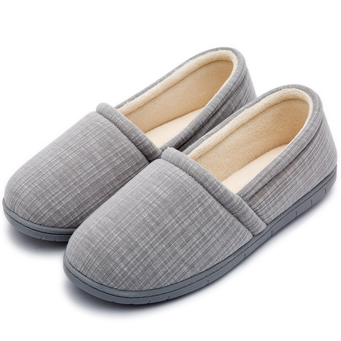 Cozy Niche Women's Knitted Vertical Stripe Shoes, Spring Summer Memory Foam House Slippers (7-8 B(M) US, Gray)