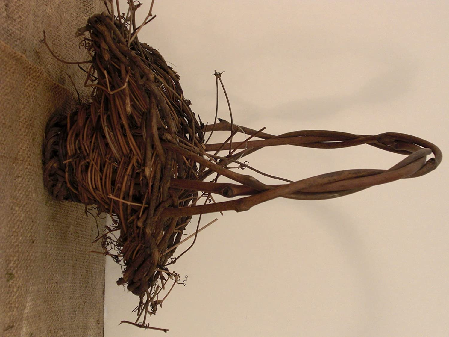 Natural Grapevine Twig Easter Basket with Rattan Bird Beautiful Rustic Basket