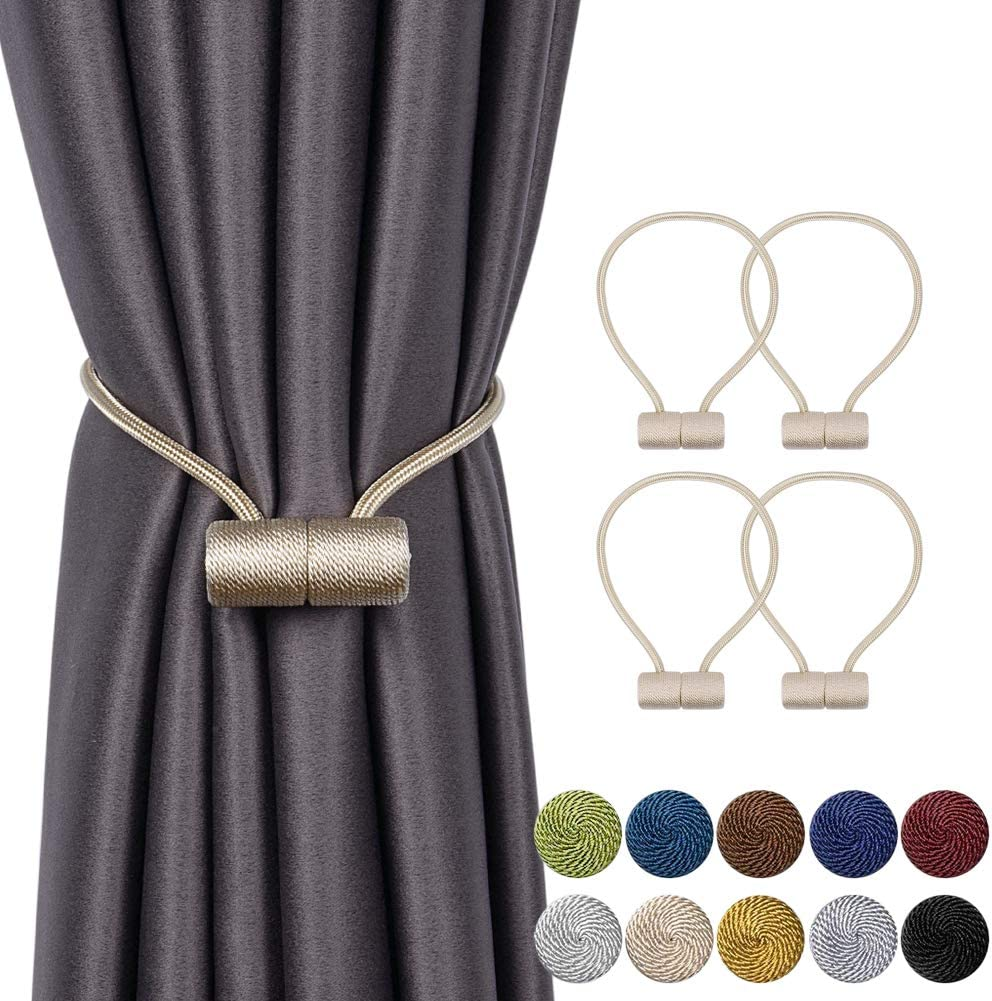 INHDBOX 4 Pack Magnetic Curtain Tiebacks 16 Inch Curtain Clips Rope Holdbacks Curtain Weaving Holder Buckles with Strong Durable Magnet for Home Office Decorative, Upgrade, EU patent 007971841-0001 Beige 4 Pack