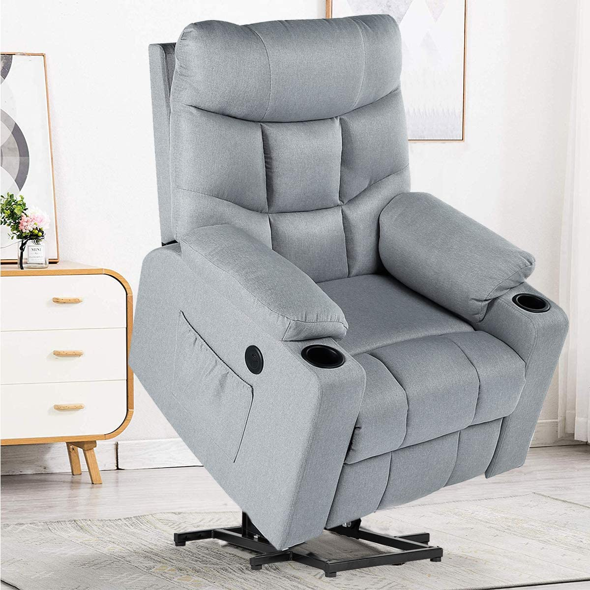 YODOLLA Electric Powr Recliner Chair, Grey Recliner Sofa with Massage Heat Function, Reclining Chair with Side Pockets and Cup Holder, USB