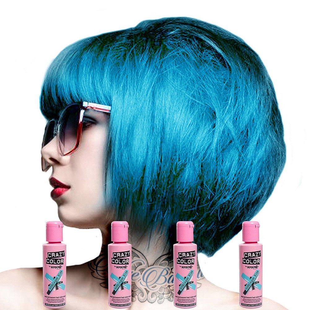 Renbow Crazy Color Semi Permanent Hair Color Cream 4 tubes Bubblegum Blue No.63 100ml Crazy Color Hair Dye