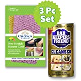 BAR KEEPERS FRIEND Cleanser Powder and Non Scratch Scouring Scrubber Kit | Multipurpose, Stainless Steel, Rust, Soft…