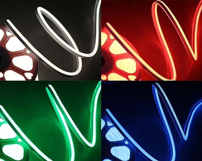 LED Lampen RGB IP65 40cm Kabel, 9M Ogeled IP68 Neon RGB LED Neonflex